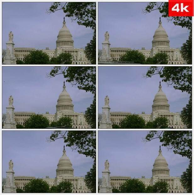 4K0308美国首都大厦的圆顶 高清实拍视频素材