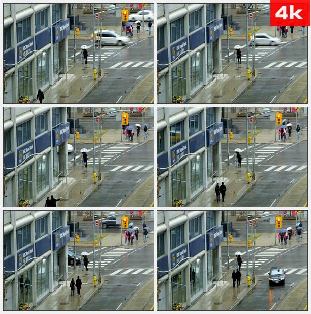 4K0318美国街头皇家银行十字路口下雨 高清实拍视频素材