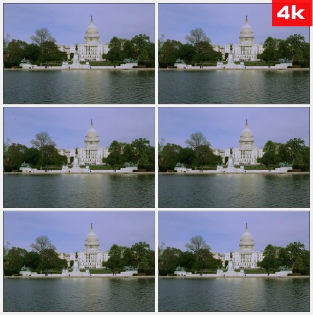 4K0323美国国会大楼倒影 高清实拍视频素材