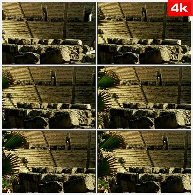 4K0360礼堂的石头废墟 高清实拍视频素材