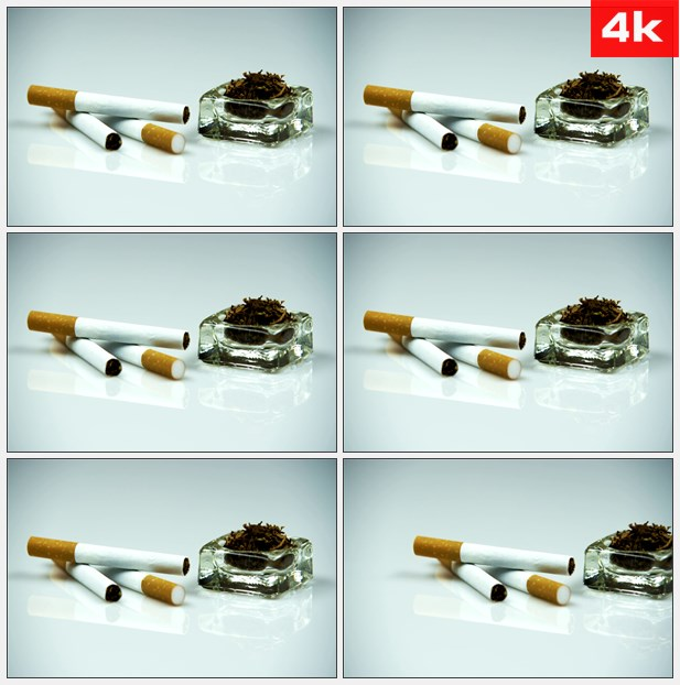 4K0376静物特写香烟烟丝烟草烟灰缸 高清实拍视频素材