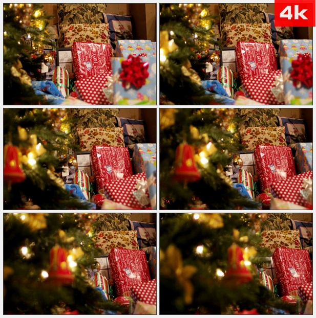 4K0378精美圣诞树下的礼物 高清实拍视频素材