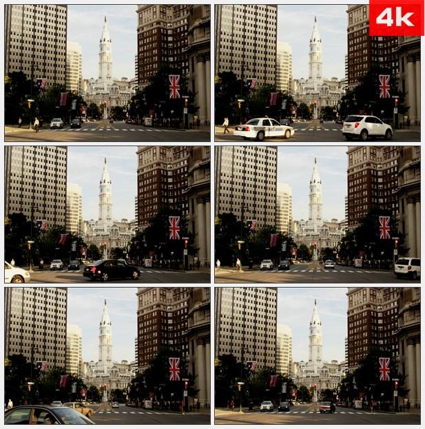 4K0381街头大会堂 高清实拍视频素材