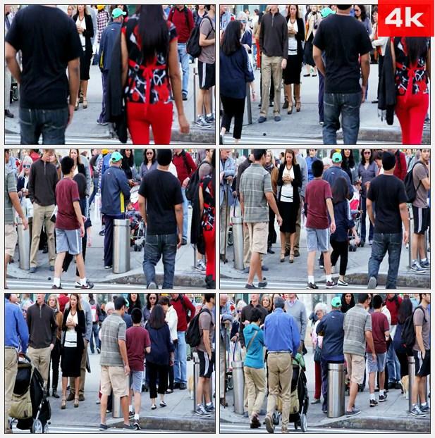 4K0382街道中的人群 高清实拍视频素材