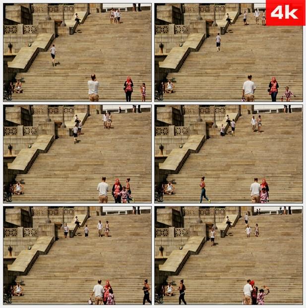 4K0384阶梯楼梯攀爬 高清实拍视频素材