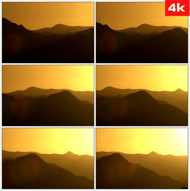4K0389剪影的山脉,与金色的夕阳 高清实拍视频素材
