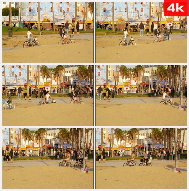 4K0391加利福尼亚州海滩骑车散步休闲生活 高清实拍视频素材