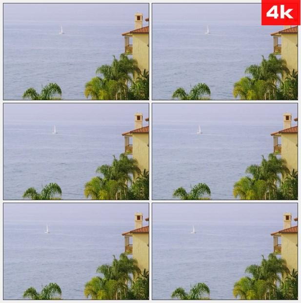 4K0393加利福尼亚航海大海白色帆船 高清实拍视频素材