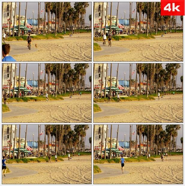 4K0395加利福尼亚海滩慢跑骑车休闲生活 高清实拍视频素材