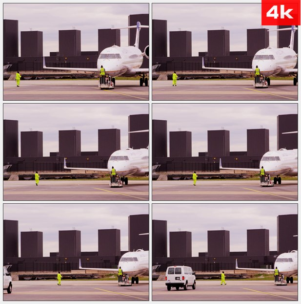 4K0400机场飞机停靠指挥维护 高清实拍视频素材