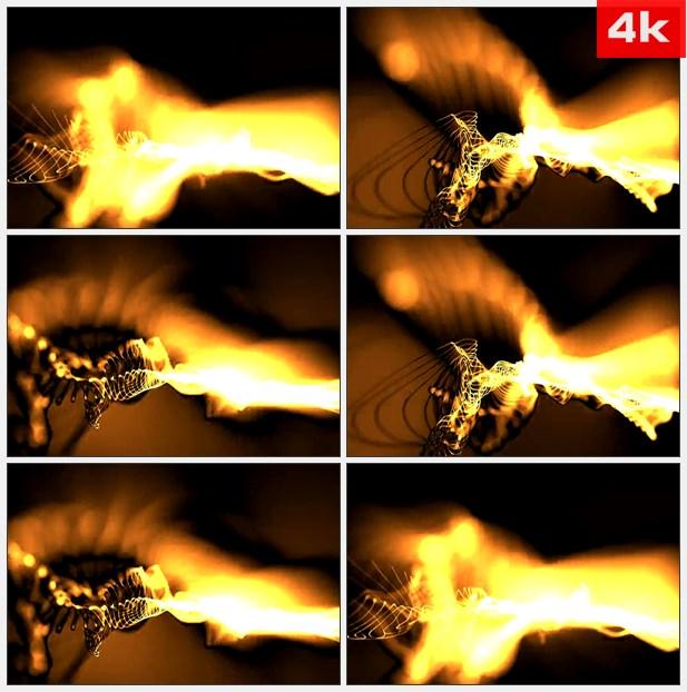 4K0409黄色和橙色扭动的光线造型 高清实拍视频素材