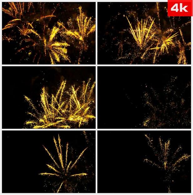 4K0414黄色的烟花爆炸 高清实拍视频素材