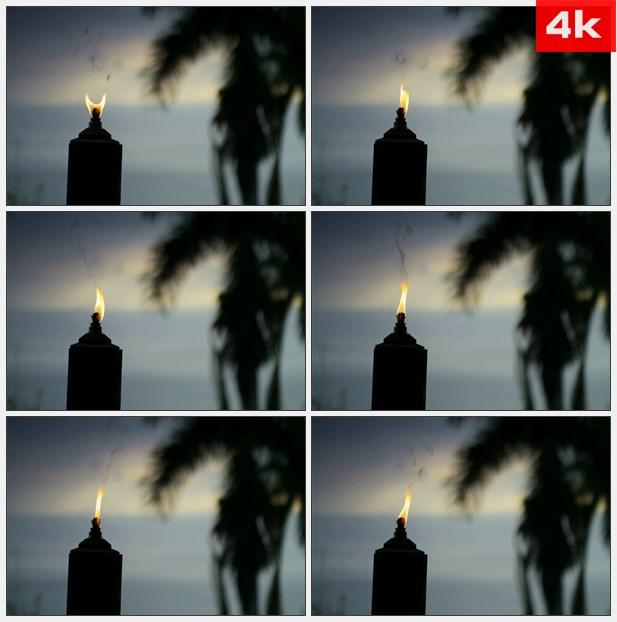 4K0416黄昏时候后的火炬 高清实拍视频素材