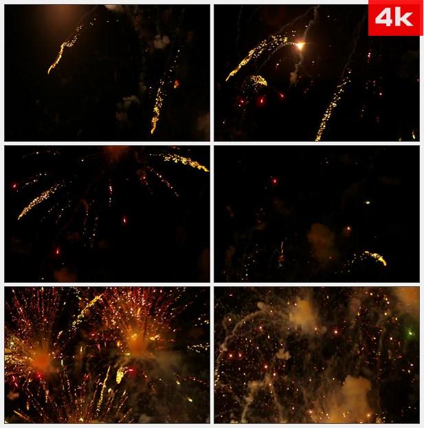 4K0419黄橙色的烟花爆炸和落下来 高清实拍视频素材