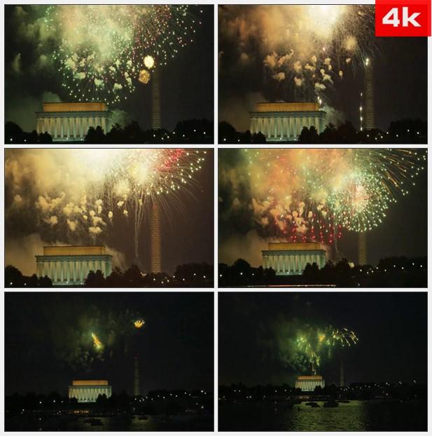 4K0426华盛顿夜晚燃放烟花 高清实拍视频素材
