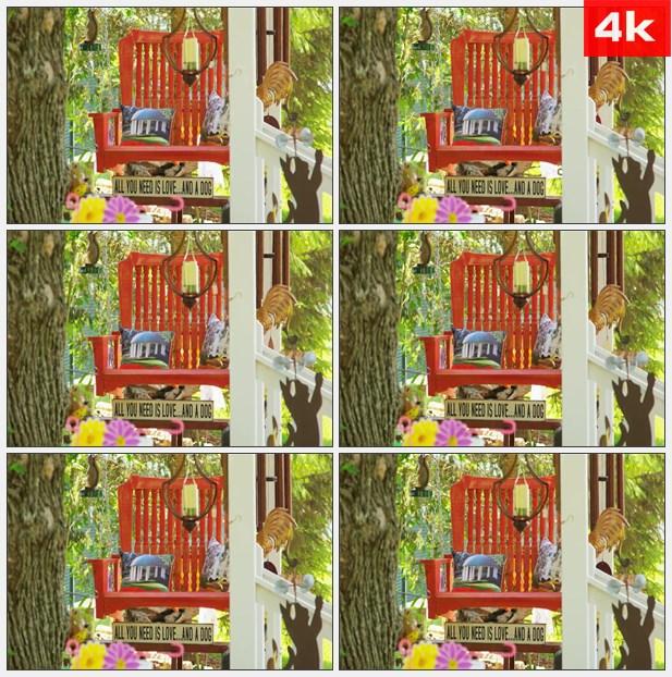 4K0433花园中的摇椅 高清实拍视频素材