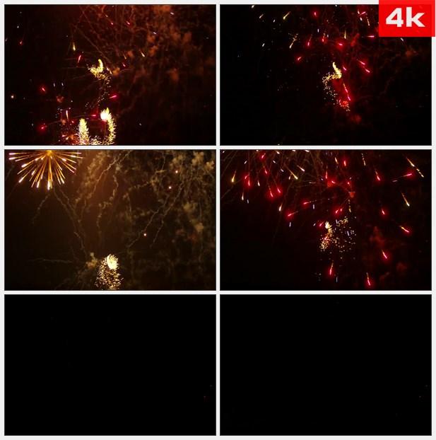 4K0442红色黄色旋转绽放烟花焰火礼花 高清实拍视频素材