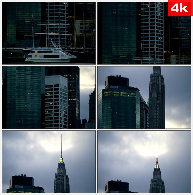 4K0453和风船和 - 新纽约 大厦 高清实拍视频素材