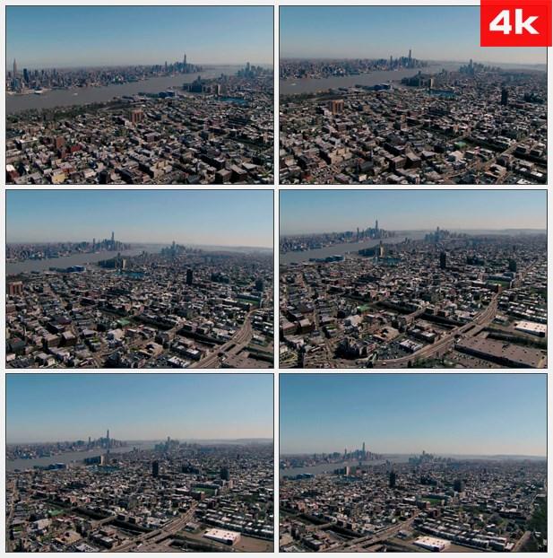 4K0465航拍美国纽约与霍博肯市俯瞰全景 高楼林立的现代都市 高清实拍视频素材