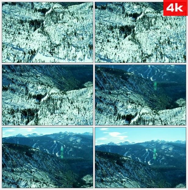 4K0468航拍大雪后的群山 高清实拍视频素材