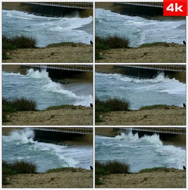 4K0479海浪撞击桥梁 高清实拍视频素材