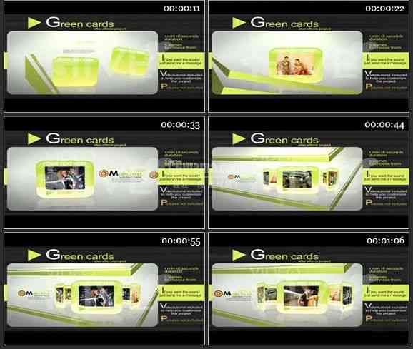 AE0912-绿色卡片 图文展示