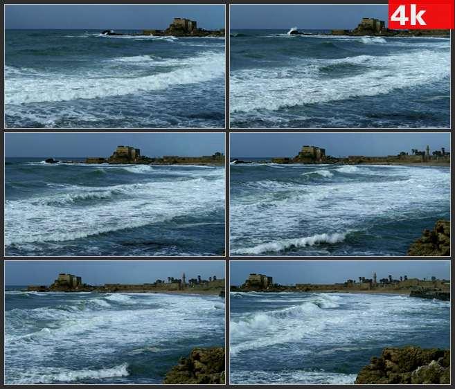 4K0484海波和岸边上的废墟 高清实拍视频素材