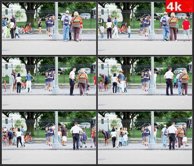 4K0499国外公园栅栏游客游人 高清实拍视频素材