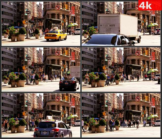 4K0500国外风情 热闹的城市街头 街角一隅 高清实拍视频素材