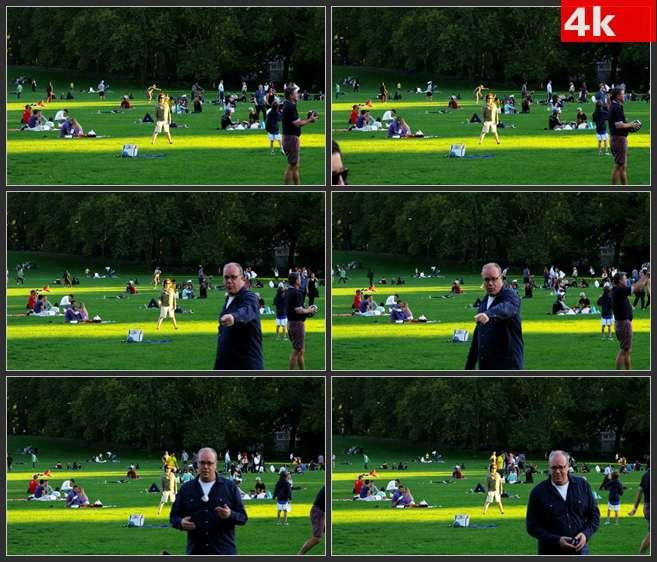 4K0503国外草地野外休闲娱乐 高清实拍视频素材