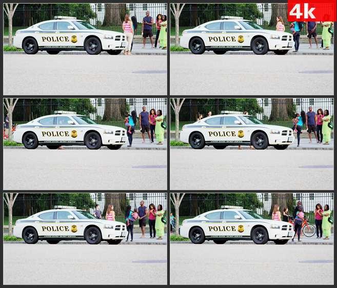 4K0505国外白色警车交通工具 高清实拍视频素材