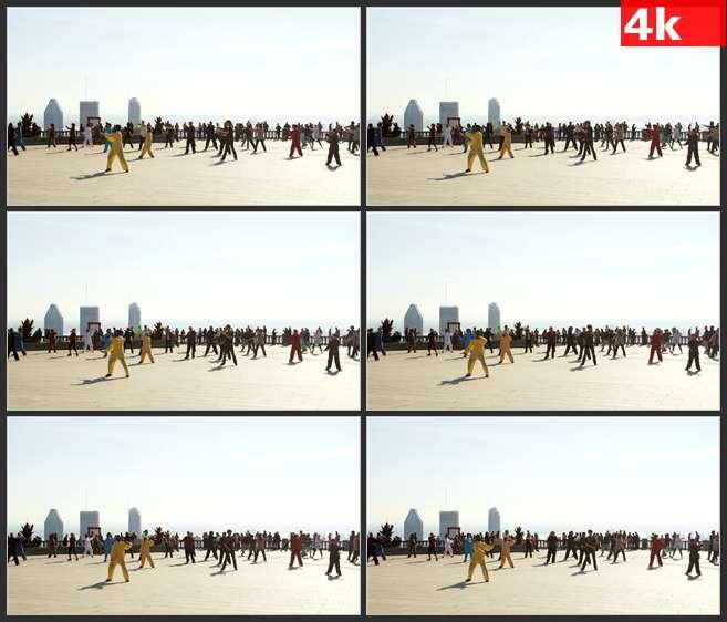 4K0517广场上练太极拳的人们 高清实拍视频素材