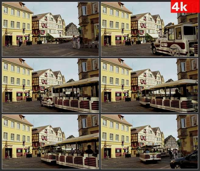 4K0520观光车行驶在付过阿尔萨斯科尔马 高清实拍视频素材