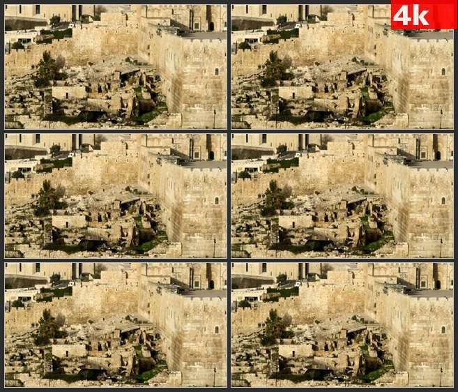 4K0524古老东方城市建筑废墟遗址 高清实拍视频素材