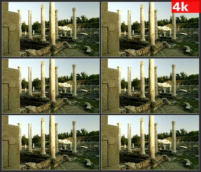 4K0526古代腐烂的石柱 高清实拍视频素材