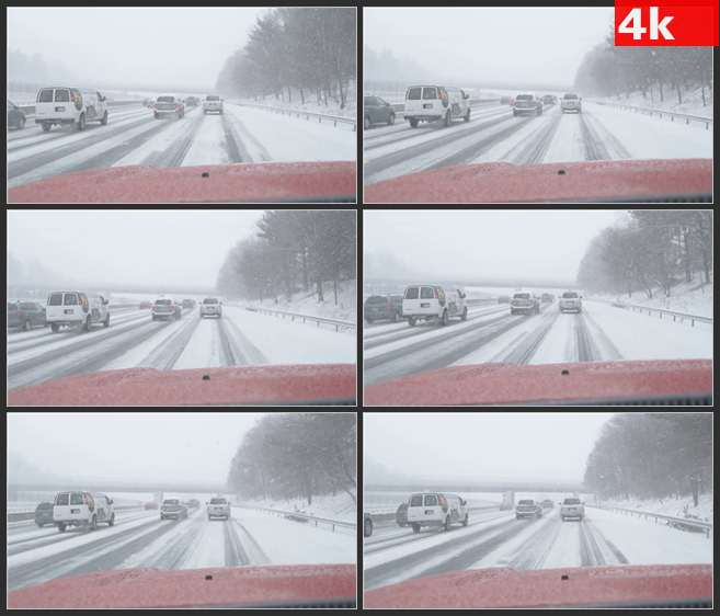 4K0529公路暴雪下雪开车驾驶 高清实拍视频素材