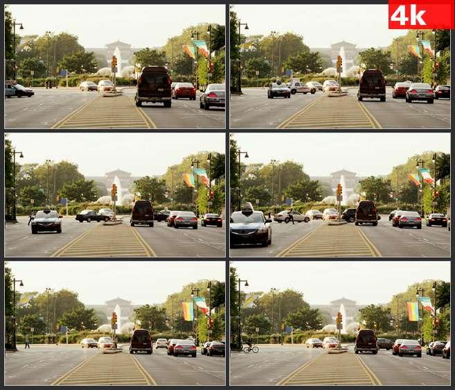 4K0559费城的街道过往车辆 高清实拍视频素材