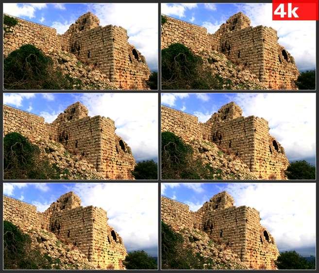 4K0565废弃的城堡 高清实拍视频素材
