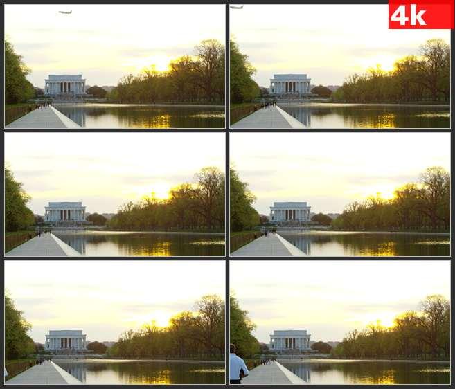 4K0569飞机飞过林肯纪念馆 高清实拍视频素材