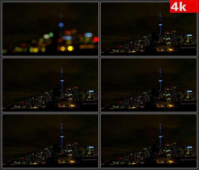 4K0575多伦多夜景灯光 高清实拍视频素材