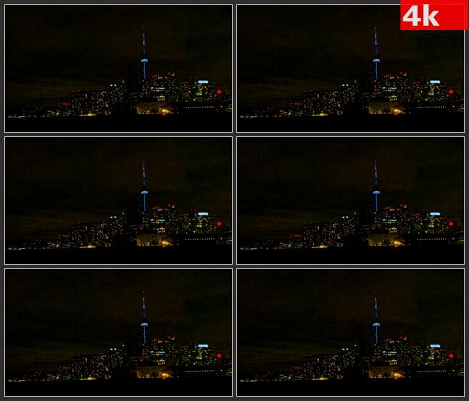 4K0579多伦多和-CN塔夜景 高清实拍视频素材
