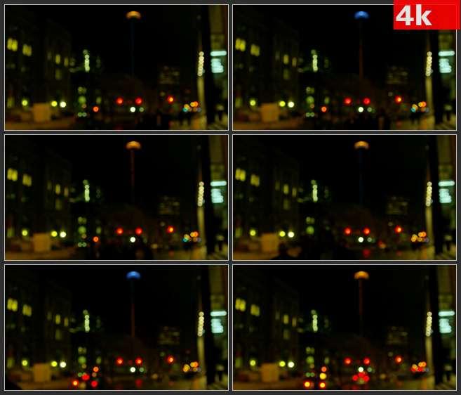 4K0583多伦多城市夜晚的街道模糊的灯光 高清实拍视频素材