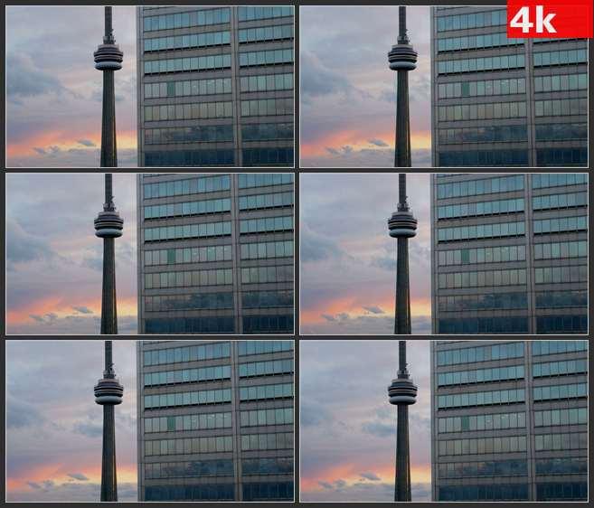 4K0586多伦多CN塔日落景象 高清实拍视频素材