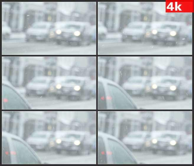 4K0602大雪中的交通 高清实拍视频素材
