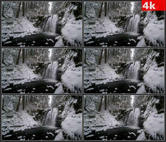 4K0607大学后的深林瀑布 高清实拍视频素材