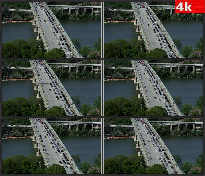 4K0611大桥上慢速行驶的车辆 高清实拍视频素材
