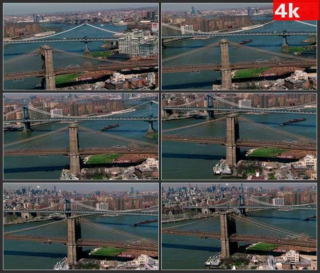 4K0632城市鸟瞰景色 布鲁克林跨海大桥 海岸城市风景 繁华都市 高清实拍视频素材