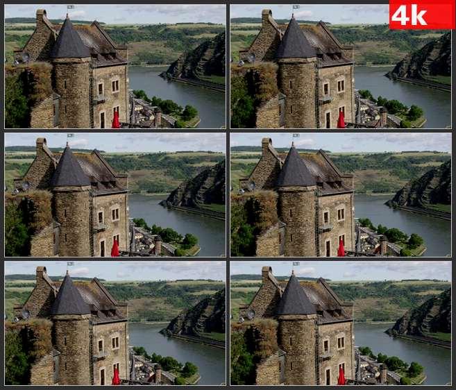 4K0636城堡旁边的河流 高清实拍视频素材