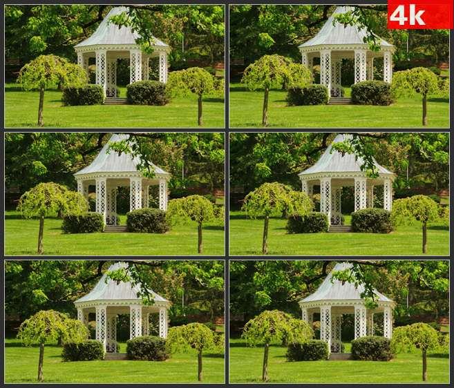 4K0640草坪中的白色亭子 高清实拍视频素材