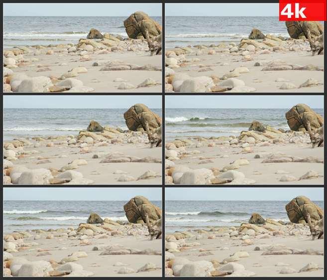 4K0647波涛滚滚砂石新斯科舍海滩 高清实拍视频素材